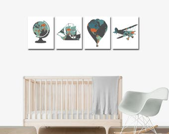 Nursery Decor - Travel Theme Nursery - Travel Nursery Decor - Baby Shower - Travel Nursery - Nursery Wall Art - Hot Air Balloon Nursery