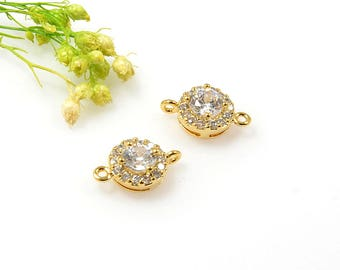 Round CZ Connectors, Round Gold Connector, Cubic Zirconia Charm, Tarnish Resistant Gold Plating, Round Cubic Zirconia Connectors, CZ Pendant