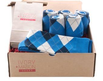 Groomsmen Socks Kit - Blue Argyle - Premium Cotton - 6 Pairs