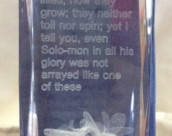 Scriptural Lead crystal Paperweight Luke 12:27