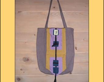 "Tote REPLIABLE ""Purple"" organic fabrics"