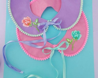 Pastel Felt peterpan collar with rose detail in either pink and mint or peach and lilac