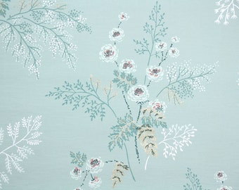 1950s Vintage Wallpaper by the Yard - White Flowers on Blue