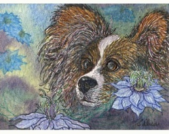Papillon Butterfly dog 8x10 art print - Love in the Mist flowers
