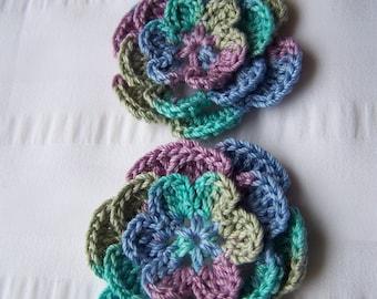Flower crochet motif 2.5 inch cotton set of 2 embellishment applique monet