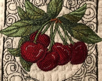 Embroidered Cherries Kitchen Towels. Set of 2.