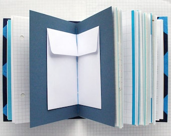 Things - Blue Mixed Paper Journal - 4.5 x 6 inch A6 - Travel Journal - List Book