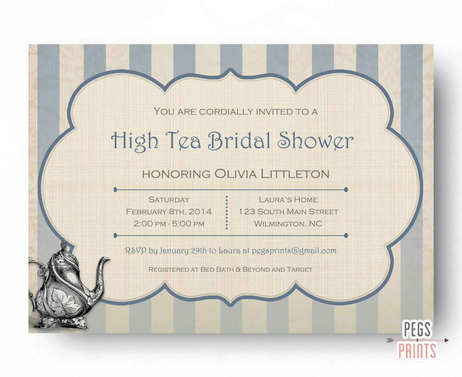 High Tea Invitation Bridal Shower Tea Party Invitations
