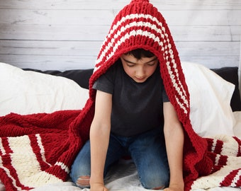 "DIY Knitting PATTERN - Knit Holden Throw Blanket 50"" x 60"" (2018003) afghan, knitting pattern, varsity stripe, red, throw blanket, hood"