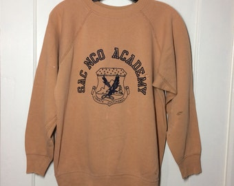 1950s SAC NCO Academy US Military Air Force eagle crest Logo Sweatshirt looks size Medium light brown distressed destroyed usaf