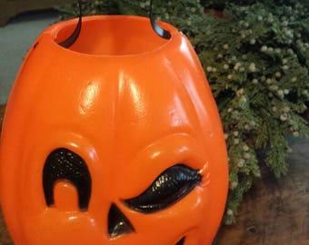 Blowmold Halloween Candy Bucket or Pail - Trick or Treat Candy Bucket - Winking Jack O Lantern - Halloween Home Decor