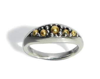 Contemporary Silver Ring with five 18kt gold beads.Modern Fine jewelry.Studio designer jewellery. Hallmark. Collectible gift.Mixed metals