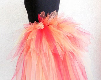 Fire Fairy Bustle - Women's Custom Sewn 3 Tiered Pixie Tutu Bustle - Up to 24 inches in length