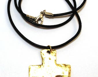 Gold Tone Pewter Large Hammered Cross Charm on a Black Leather Necklace - Free Shipping in the US -0003