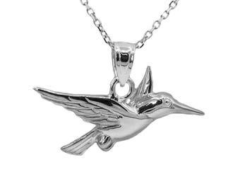 14k White Gold Hummingbird Necklace