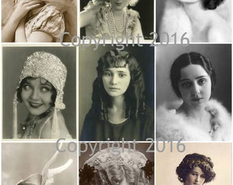 Printable Vintage Women  Photo Images  Collage Sheet.  Instant Digital Download, Mother's Day, Scrapbook Embellishments