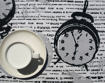 Tablecloth white black grey old alarm clock Scandianvian Design , runner , napkins , curtains , pillows available, great GIFT