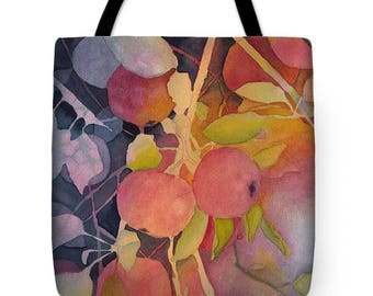Mother's Day Gift Idea Autumn Apples Watercolor Tote Purse Bag
