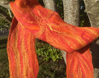 Swirling Sun Pattern Orange Merino Wool And Silk Nuno Felted Scarf