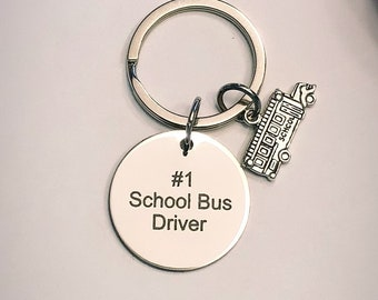 No 1 School Bus Driver Charm and Keychain