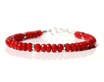 Beaded Coral Bracelet, Genuine Bold Red Coral Jewelry, 925 Sterling Silver, 35th Anniversary Gift for Wife, Stacking Bangle Bracelet