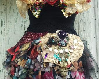 Bustle skirt,belly dance skirt,belly sash, sequins skirt, performance, Burning man, festival,women fashion, sexy, floral print, Oriental