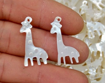 20pcs- White Shell Mother of Pearl MOP Giraffe charm pendant beads 12x25mm