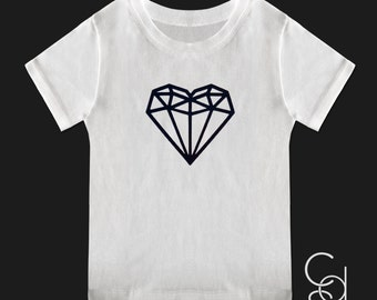 Geometric Diamond Heart White Short Sleeve Toddler Tee with Black Vinyl on Front and Back. CLEARANCE