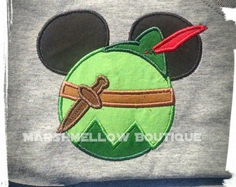 Peter Pan Patch Iron on Inspired-iron on patch-mouse themed patch- Peter Pan purse patch- luggage tag-Mouse ears patch-purse iron on patch