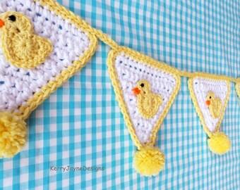 Duck bunting crochet pattern Duck crochet pattern  Duck applique pattern  Crochet applique pattern  Duck Crochet bunting pattern USA PATTERN