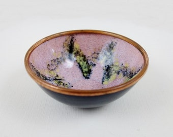 Vintage Modernist Enamel Copper Ring Dish in Pink Yellow and Black
