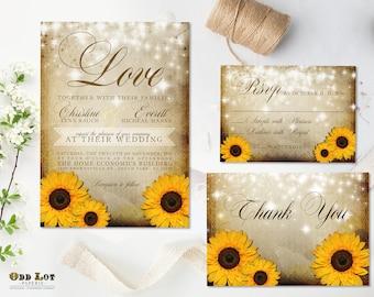 Rustic Sunflower Wedding Invitation and RSVP Yellow Sunflower Invitation Summer Wedding Fall Wedding DIY Printable Sunflower Wedding Set