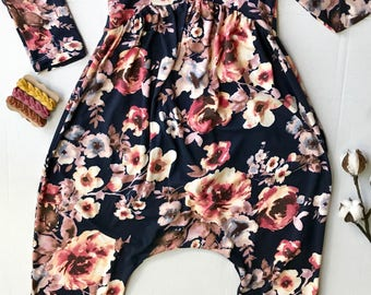 Dressy Navy Blue Floral Romper Sizes 18 months to 5T