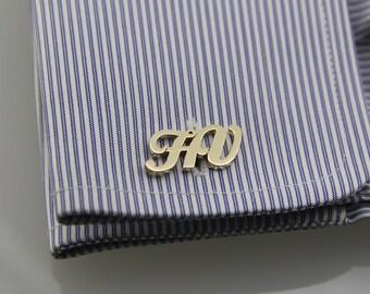 Personalized Cufflinks - Initial Cufflink, Groom Wedding Cufflinks, Letters Cufflinks, Initials Cufflinks,  Father's day gift, Man Jewellery