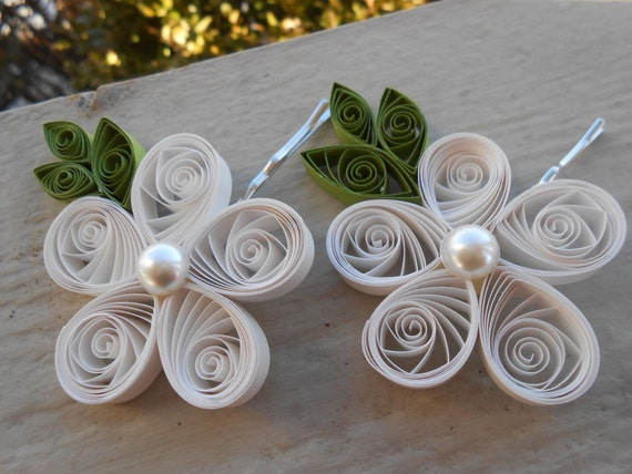 Bridal Hair Flowers. CHOOSE YOUR COLORS. Wedding, Hair Piece. Quilled Flower. Bridesmaid, Flower Girl. Barette, Clip, Tiara