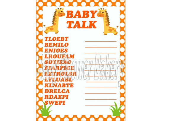 Giraffe Baby Shower Game Baby Shower Word Scramble Orange