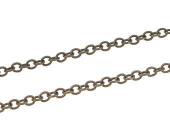 Antique Brass Chain 3 Feet Aged Solid Brass Cable Chain - Medium Sized Bronze Chain - Loose Chain for Necklaces - Round Chain (FSABC10)