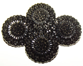 Antique Buttons ~ Victorian Black Glass Buttons ~ 4 Black Glass Buttons Sunflower Motif