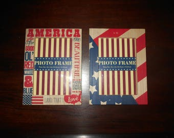 "Wooden Folk Art Style ""America"" Photo Frames, 4 x 6 inches"