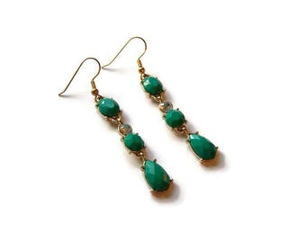 CLEARANCE...Emerald Rhinestone Drop Earrings