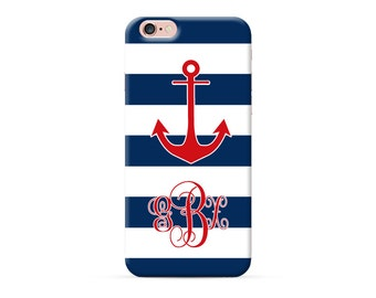 Personalized iPhone 8 Case, iPhone 8 Plus Case, iPhone X Case, iPhone 7 Case, iPhone 6 case, Monogram, blue stripes red nautical anchor