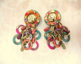 Vintage 80's Gold Chunk Mulit Color Bright Dangle clip earrings