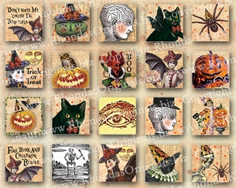 Digital Halloween Images - 1 Inch Square, Inchies For DIY Jewelry Making - Witch, Black Cat, More INSTANT Download CS35 J
