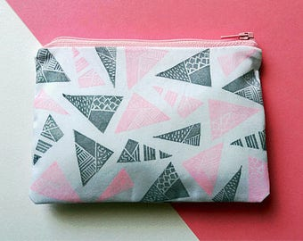 Hand Printed Geometric Triangles Coin Purse