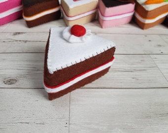 Felt chocolate cream cake slice. Felt food. Novelty Pretend Play. Children's Gift