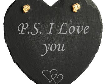 Engraved Slate P.S. I love you plaque