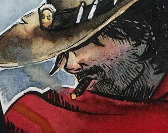 Original Watercolor card - Overwatch McCree