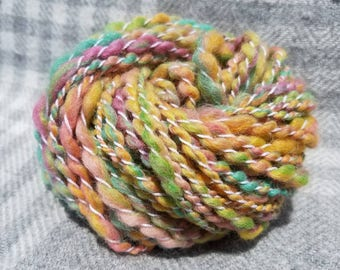 Rainbow twist handspun yarn