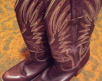 Vintage Brown Leather FRYE Western Boots with Multi-Colored Stitching 1980's Size 6.5
