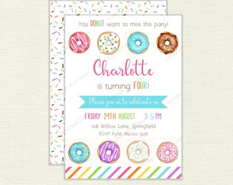 Rainbow Donuts Birthday Party Invitation - customised printable invite, Digital Party Supplies - IN046
